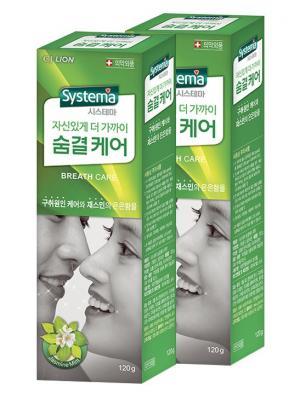 Зубная паста Dentor Systema (для ухода за дыханием), 120 г х 2шт. Cj Lion. Цвет: зеленый