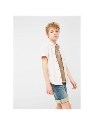 Рубашка - PINK Mango kids. Цвет: бледно-розовый