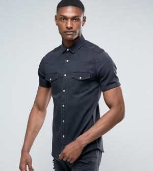 ASOS Эластичная узкая джинсовая рубашка с выбеленной отделкой TALL. Цвет: черный