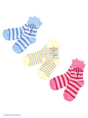 Носки детские, 3 пары БРЕСТСКИЕ. Цвет: голубой, малиновый, желтый