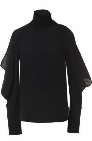 Блуза с воротником-стойкой и оборками Marni. Цвет: темно-синий