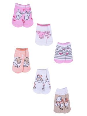 Носки детские,комплект 6шт Malerba. Цвет: коралловый, розовый