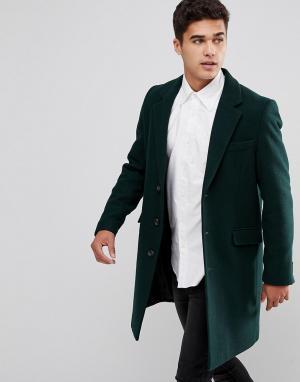 ASOS Пальто бутылочно-зеленого цвета с добавлением шерсти. Цвет: зеленый