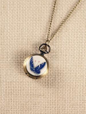 Кулон-часы Синяя бабочка Mitya Veselkov. Цвет: бронзовый