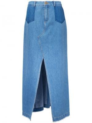 Длинная юбка с шлицей спереди Sea. Цвет: синий