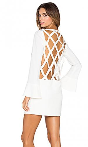 Мини платье ADRIANA DEGREAS. Цвет: белый