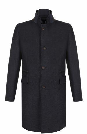 Шерстяное однобортное пальто с воротником-стойкой Windsor. Цвет: темно-синий