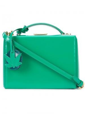 Маленькая сумка на плечо Grace Box with Leaf Charm Mark Cross. Цвет: зелёный