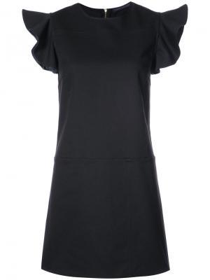 Платье с рюшами на рукавах Harvey Faircloth. Цвет: чёрный