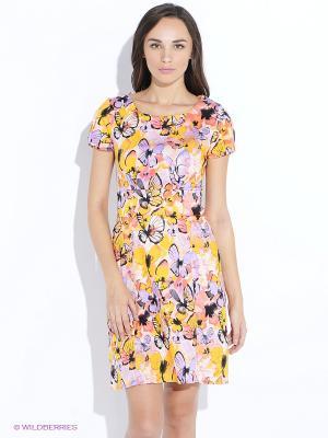 Платье Oodji. Цвет: желтый, розовый
