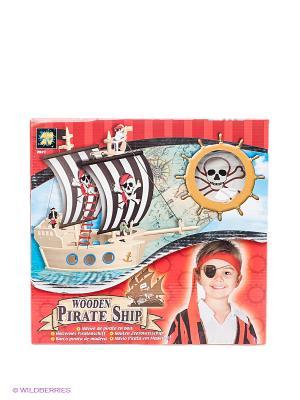 Набор Пиратский корабль из дерева AMAV. Цвет: красный