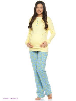 Домашний комплект для беременных (лонгслив, брюки) Hunny Mammy. Цвет: желтый