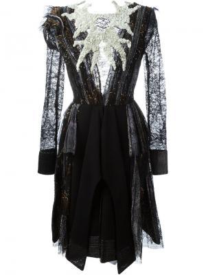 Декорированное платье Hussein Bazaza. Цвет: чёрный