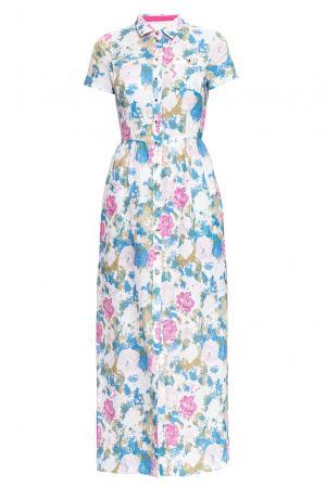 Платье из льна и хлопка 163231 Anna Verdi. Цвет: разноцветный