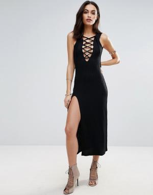 Jovonna Платье-комбинация со шнуровкой спереди. Цвет: черный