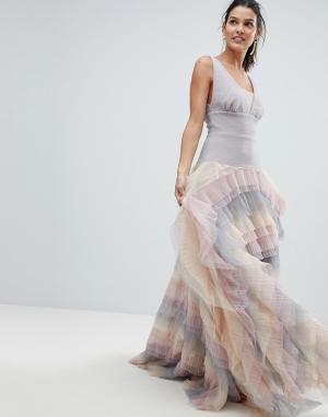 Bronx and Banco Платье макси с радужной юбкой из тюля. Цвет: мульти