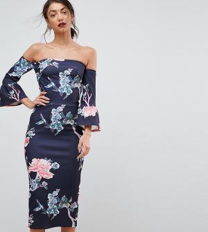 True Violet Tall Облегающее платье с цветочным принтом и расклешенными рукавами Vi. Цвет: черный