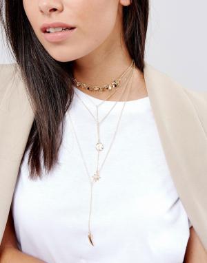 DesignB London Многоярусное ожерелье-чокер с подвесками. Цвет: золотой