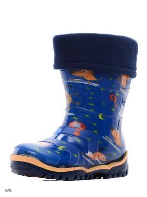 Резиновые сапоги Дюна. Цвет: темно-синий, рыжий, синий