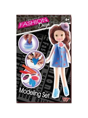 Набор для творчества с пластилином Fashion Dough и куклой Шатенка в голубом сарафане Toy Target. Цвет: синий
