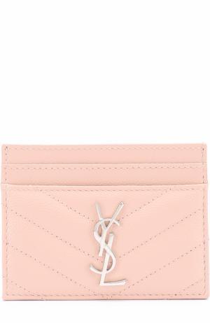 Футляр для кредитных карт с логотипом бренда Saint Laurent. Цвет: светло-розовый