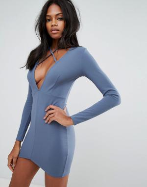 Missguided Облегающее платье с длинными рукавами и глубоким декольте завязкой M. Цвет: синий