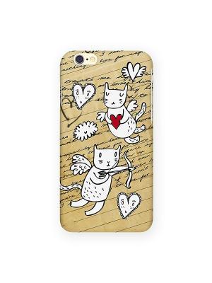 Чехол для IPhone 6 Коты-амуры Mitya Veselkov. Цвет: кремовый, желтый, красный