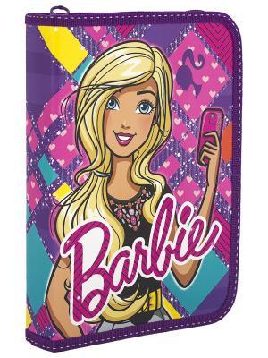 Пенал жесткий ламинированный с клапаном Barbie. Цвет: темно-фиолетовый, желтый, розовый