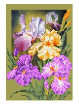 Рисунок на шелке Ирисы Матренин Посад. Цвет: белый, оливковый, сиреневый, желтый