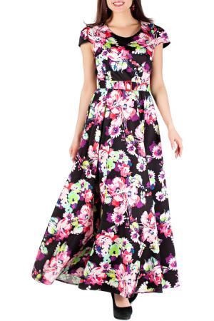 Платье с цветочным принтом и поясом Mannon. Цвет: розово-черный