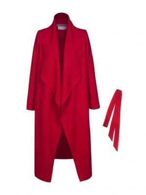 Пальто из тонкой вареной шерсти с поясом Bella kareema. Цвет: красный