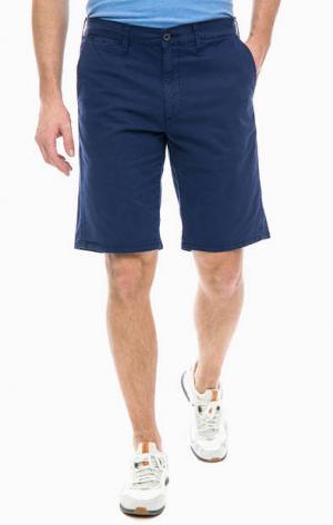 Хлопковые шорты синего цвета Wrangler. Цвет: синий