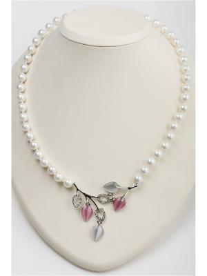 Бусы Oceania. Цвет: белый, прозрачный, розовый