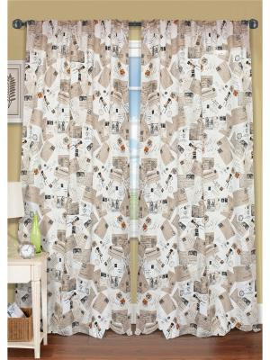 Комплект штор Postcard - XL, 2 шторы 276х270 см, подхвата Kauffort. Цвет: бежевый, коричневый, черный