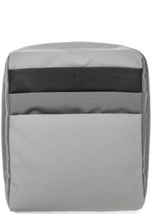 Серая текстильная сумка через плечо PIQUADRO. Цвет: серый
