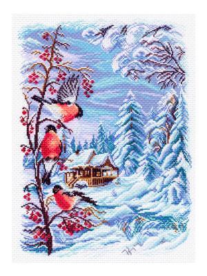 Рисунок на канве Русская зима Матренин Посад. Цвет: белый, бордовый, голубой, горчичный, зеленый