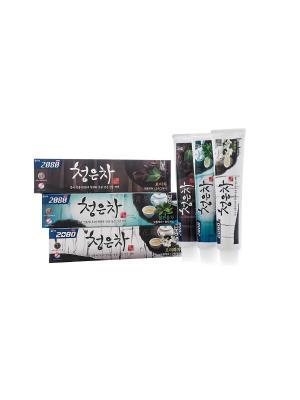 Набор Зубные пасты Dental Clinic 2080 Cheong-en-cha, Чайная церемония 3 штуки. Цвет: белый, голубой, черный