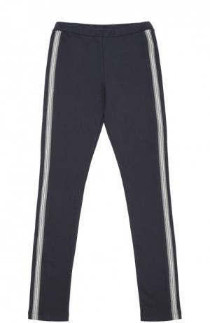 Спортивные брюки из эластичного хлопка Moncler Enfant. Цвет: темно-синий