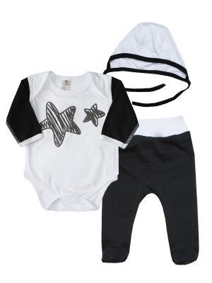 Набор одежды: боди, ползунки, чепчик КОТМАРКОТ. Цвет: белый, черный