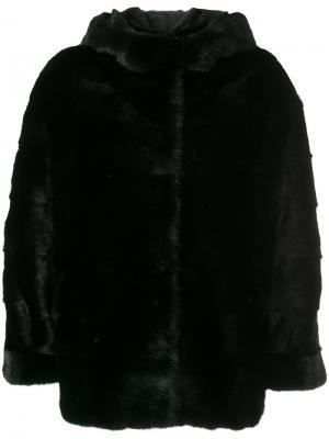 Норковая куртка Simonetta Ravizza. Цвет: чёрный