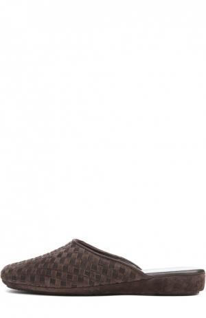 Плетеные домашние туфли на танкетке Homers At Home. Цвет: коричневый