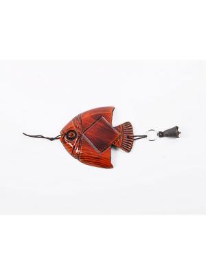 Орнамент резной рыбка с колокольчиком DSL  АР9314-36 цвет коричневый Da Sent Lin ARTS. Цвет: коричневый