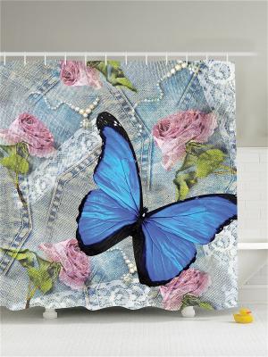 Фотоштора для ванной Бабочка на джинсах, 180*200 см Magic Lady. Цвет: синий, зеленый, серый, голубой, розовый