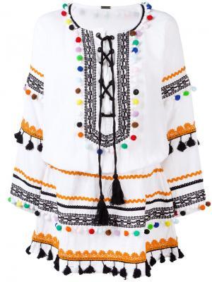 Платье с помпонами Dodo Bar Or. Цвет: белый