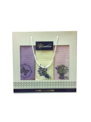Набор полотенец в подарочной упаковке Блакiт. Цвет: фиолетовый, желтый, розовый