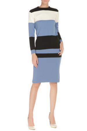Комплект: юбка и свитер BGN. Цвет: голубой-чёрный-кремовый