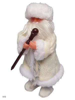 Дед Мороз музыкальный в валенках с посохом (русская мелодия), 25см А М Дизайн. Цвет: лазурный, морская волна, коричневый, коралловый, розовый, белый