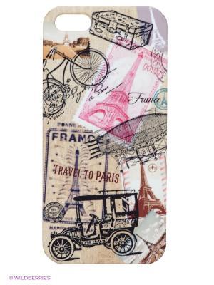Чехол для IPhone 5 Ретро-Париж Mitya Veselkov. Цвет: бежевый, розовый, черный, коричневый