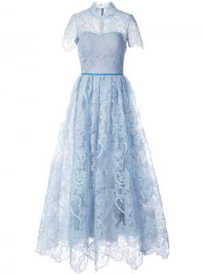 Кружевное платье с короткими рукавами Marchesa Notte. Цвет: синий