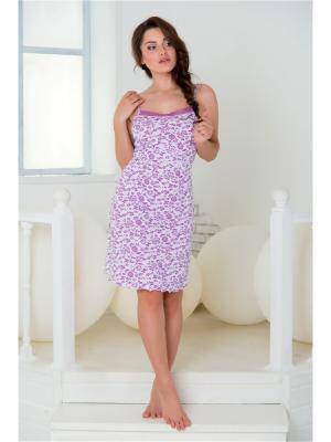 Ночная сорочка Santi. Цвет: белый, сиреневый